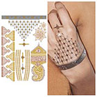 Tattify Metallic Gold Bronze Copper Henna Mandala Style Temporary Tattoo (1 Sheet) - Indian Princess