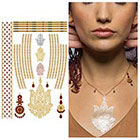 Tattify Metallic Gold Indian Henna Temporary Tattoo - 1 x A5 Sheet