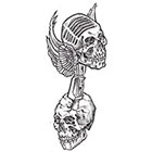 Soma Art Tattoo Custom Skull Wings Old School Temporary Tattoo - SomaArtTattoo Temporary Tattoo - wrist quote tattoo body sticker fake tattoo small tattoo
