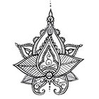 A Shine To It Lotus Mandala Temporary Tattoo Henna Style Hand Drawn Original Illustration