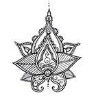 A Shine To It Lotus Mandala Temporary Tattoo Henna Style Hand Drawn Original Illustration