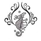 Soma Art Tattoo Custom Seahorse Temporary Tattoo -SomaArtTattoo Temporary Tattoo - wrist quote tattoo body sticker fake tattoo small tattoo