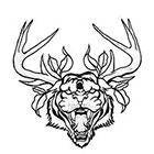Soma Art Tattoo Custom Tiger with Buck Horn Temporary Tattoo -SomaArtTattoo Temporary Tattoo - wrist quote tattoo body sticker fake tattoo small tattoo