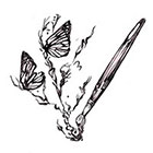 Soma Art Tattoo Custom Brush Drawing Butterfly Temporary Tattoo -SomaArtTattoo Temporary Tattoo - wrist quote tattoo body sticker fake tattoo small tattoo