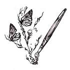 Soma Art Tattoo Custom Brush Drawing Butterfly Temporary Tattoo -SomaArtTattoo Temporary Tattoo - wrist quote tattoo body sticker fake tattoo small tattoo