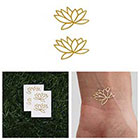 Tattify Fully Lotus - Metallic Gold Lotus Flower Temporary Tattoo (Set of 4)