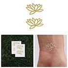 Tattify Fully Lotus - Metallic Gold Lotus Flower Temporary Tattoo (Set of 4)