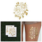 Tattify Twin Rose - Metallic Gold Rose Flower Temporary Tattoo (Set of 2)