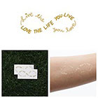 Tattify Obvious - Metallic Gold Infinity Sign Text Temporary Tattoo (Set of 2)