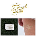 Tattify Progress - Metallic Gold Inspirational Quote Temporary Tattoo (Set of 2)