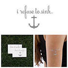 Tattify Sinking Feeling - Metallic Silver Nautical Anchor Quote Temporary Tattoo (Set of 2)
