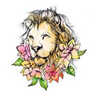 Pepper Ink lion and flowers portrait temporary tattoo - strength, courage, boldness