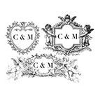 The Fickle Tattoo Vintage Custom Monogram Valentines Temporary Tattoos -