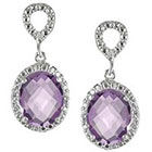 Journee Collection Oval Cut Cubic Zirconia Dangle Pave Earrings in Sterling Silver - Purple