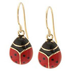 Target Gold Plated Drop Earrings with Enamel over LadyBug - Red
