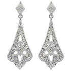 Target Dangle Earrings Crystal Drop - Silver/Clear