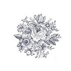 Pepper Ink vintage black and white floral design temporary tattoo