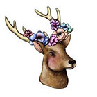 Pepper Ink Deer with Floral Antlers - woodland animal- temporary tattoo artist Amanda Whitelaw