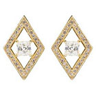 Journee Collection 7/8 CT. T.W. Square Cut CZ Basket Set Stud Earrings in Brass - Gold