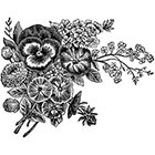 Ombeyond TEMPORARY TATTOO - Black or Blue Vintage Floral - Pansy
