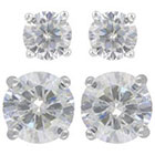 Target Sterling Silver Stud Earrings Set of 2 Round 5MM/8MM Cubic Zirconia - Silver/Clear
