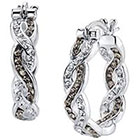 Target Silver Plated Marcasite and Crystal Hoop Earring - 23mm