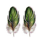 TattooNbeyond Temporary Tattoo - Set of 2 Green Feathers / Vintage Feather