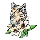 Pepper Ink Cat Floral Temporary Tattoo