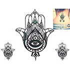 NovuInk Hamsa Serene Blue Eyes Waterproof Temporary Tattoo Transfer (Original Hand Painted Art Design)