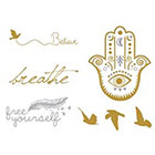 Tattoo LifeStyle Sets Golden temporary tattoos Birds, Words, Hand of Fatima