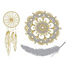 Tattoo LifeStyle Sets golden temporary tattoos, Mandala, Feather and dream catcher