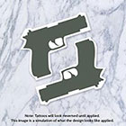 Tatzarazzi Small Gun Temporary Tattoo Rihanna Handgun Firearm Weapon Deadly Badass Tiny Black Green Unique Original