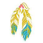 myTaT Metallic Feather Tattoo, Gold Eagle Tattoo, Metallic Turquoise Feathers