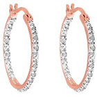 Diamond 1/4 CT. T.W. Hoop Earrings in Sterling Silver - RoseGold (IJ-I2-I3)
