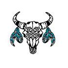 myTaT Western Tattoo, Bohemian Black Bull Skull Tattoo, Skull with Turquoise Feathers Temporary Tattoo