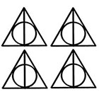 TattooNbeyond Temporary Tattoo - Set of 4 Harry Potter Deathly Hallows / Six 5SOS Tally Marks / Six Skulls