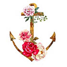 WildLifeDream Watercolor Anchor and flowers - Temporary tattoo