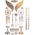NovuInk Temporary Tattoo Gold Foil Jewellery Collection 'Angel Wings and Dreamcatcher'