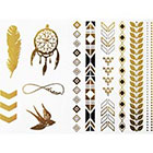 NovuInk Temporary Tattoo Gold Foil Jewellery Collection 'Swallow, Infinity, Dreamcatcher'