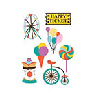 TattooWhatever Colourful Happy Circus Temporary Tattoo Set