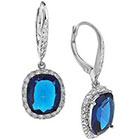Tevolio Cubic Zirconia Cushion Cut Dangle Earrings - Blue and Clear