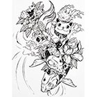 NovuInk Maneki-Neko Waving Cat and Koi Fish Waterproof Temporary Tattoo Transfer (Original Hand Drawn Art Design)