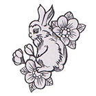 Soma Art Tattoo Custom rabbit & flowers Temporary Tattoo -SomaArtTattoo Temporary Tattoo - wrist quote tattoo body sticker fake tattoo small tattoo