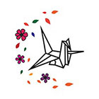 TattooWhatever Origami Crane With Flower Temporary Tattoo - Set of 2
