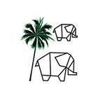 TattooWhatever Origami Elephant and Coco Tree Temporary Tattoo - Set of 2