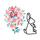 TattooWhatever Watercolour Flower + Origami Rabbit Temporary Tattoo - Set of 2
