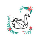 TattooWhatever Origami Swan with Watercolour Flowers Temporary Tattoo - Set of 2