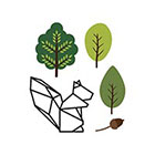 TattooWhatever Origami Squirrel + Trees + Nut Temporary Tattoo - Set of 2