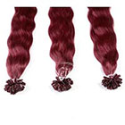 AboutHair U-Tip Dark Red Wine 100% Human Hair Extensions - Pre Bonded U Nail Tip Extensions