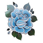 Lagoon House Blue Traditional Rose Hand Drawn Large Temporary Tattoo